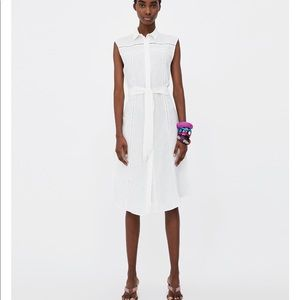 White linen mixed dress with Lace insects, NWT